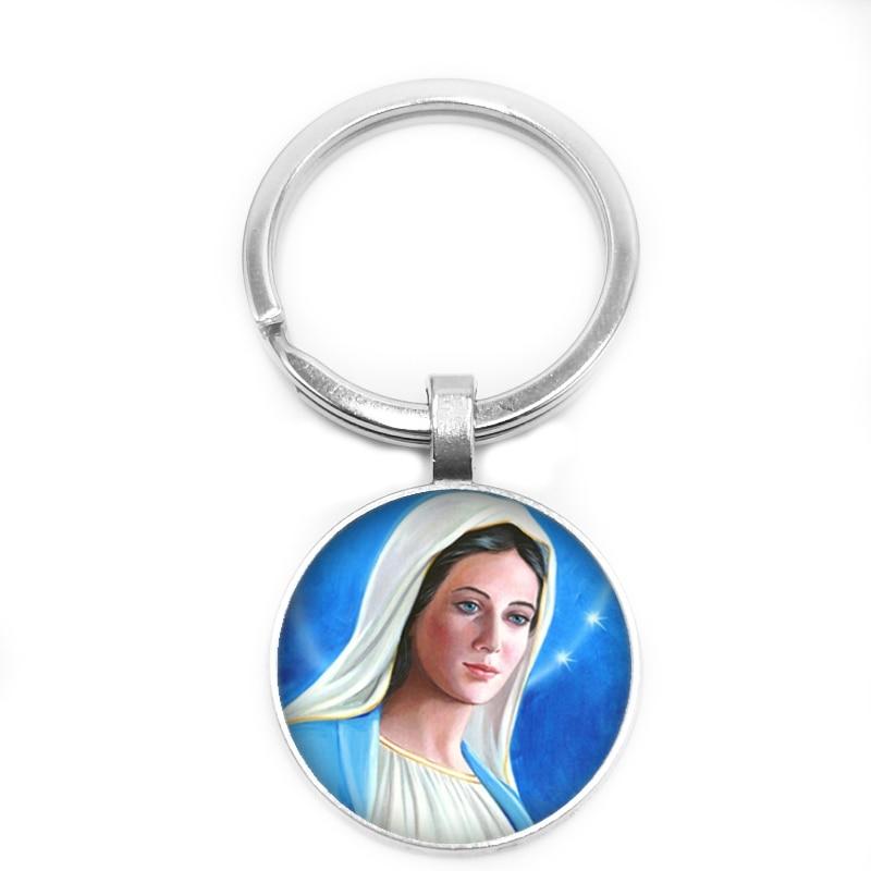 2019 Nova Virgem Maria Anel Chave Da Igreja Crente 25 milímetros Convexa de Vidro Círculo Do Anel Chave Keychain Presente Jóias