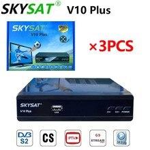 [3 pces] receptor de satélite skysat v10 mais suporte m3u cccamd newcamd clin powervu biss wifi conjunto caixa superior