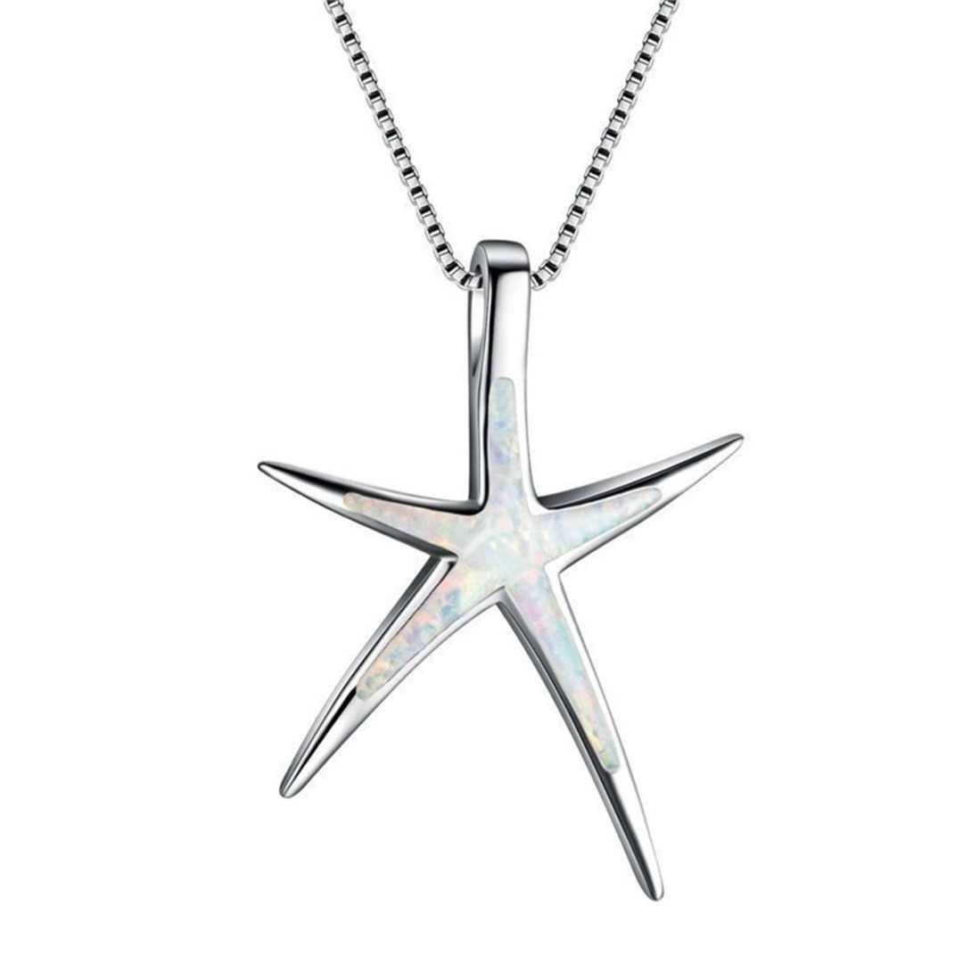 Богемное женское ожерелье с морской звездой, Очаровательная опал, длинная Серебряная цепочка, ожерелье, летний пляжный стиль, Женские аксессуары для вечеринок