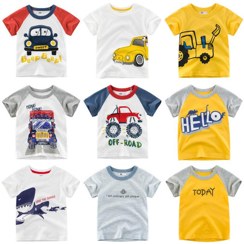 Summer Baby Boys T Shirt Cartoon Car Print Cotton Tops Tees T Shirt For Boys Kids Children Outwear Clothes Tops 2-8 Year Animal