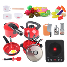 17-38Pieces Kids Kitchen toy set Cookware Pot Pan Pretend Cooking toys Play Toy Simulation Toys Set Children gifts