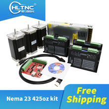 Free shipping 3 pcs DM542 Stepper motor driver+ 3 pcs Nema23 425 Oz in dc motor+1 set mach3+1 pcs 350W 36V power supply for CNC