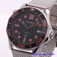 Bliger 41mm Black Dial Automatic Mechanical Men Watch 007