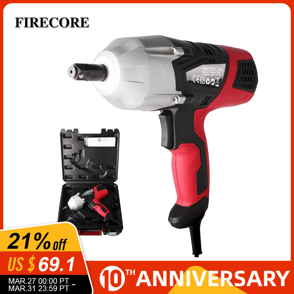 Firecore Electric Impact Wrench 500N.m 1/2 Inch Car Socket Wrenches Power Tools