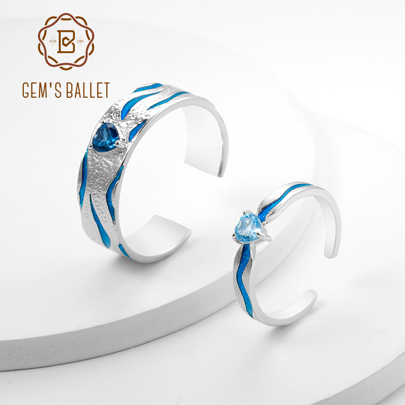 GEM'S BALLET Natural Blue Topaz Handmade Adjustable Open Ring For Couple 925 Sterling Silver Enamel Ring Fine Jewelry Lovers'Gif