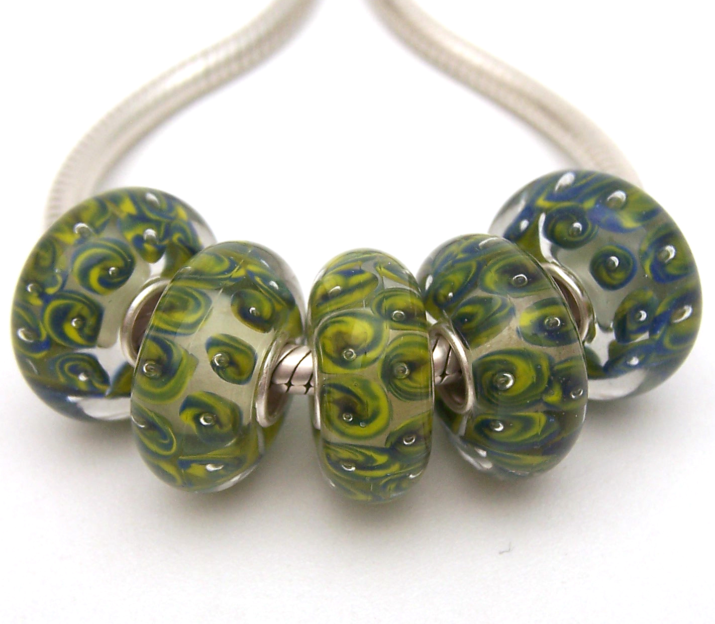 Pale Green Bubble Murano Lampwork Glass Bead fit European Bracelet Necklace