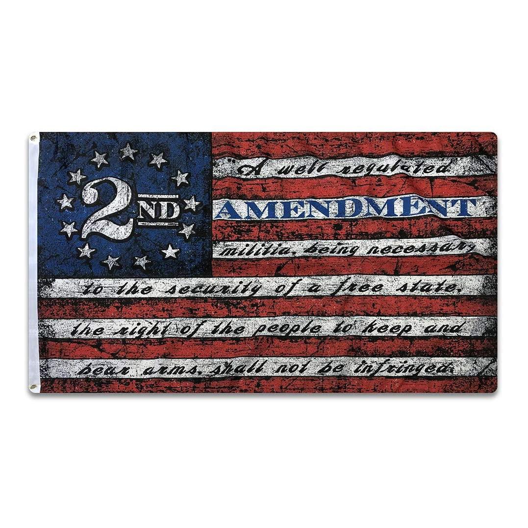 Xiangying 90x150cm 2nd Second Amendment 1791 Vintage American Flag