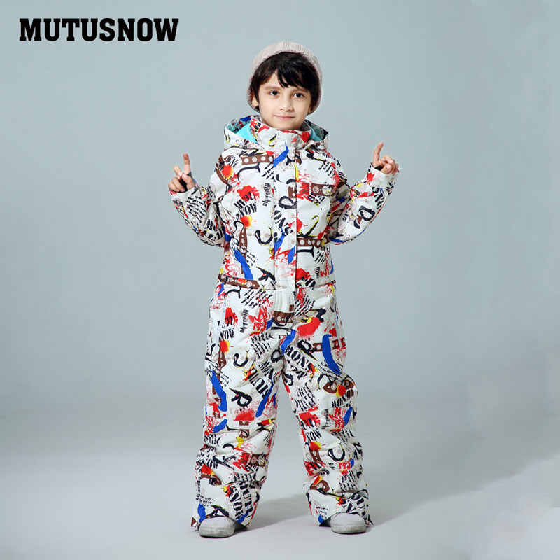 MUTUSNOW Kids Ski Suit Boys Children Brands Waterproof Warm Snow Jacket And Pants Winter Skiing And Snowboarding Clothes Child
