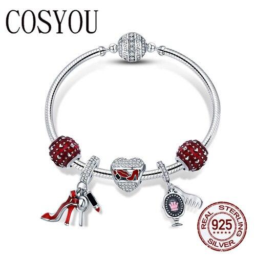 COSYOU authentique 925 argent Sterling émail rouge coeur femmes chaussures cosmétique Bracelets et Bracelets pour femmes bijoux en argent SCB802