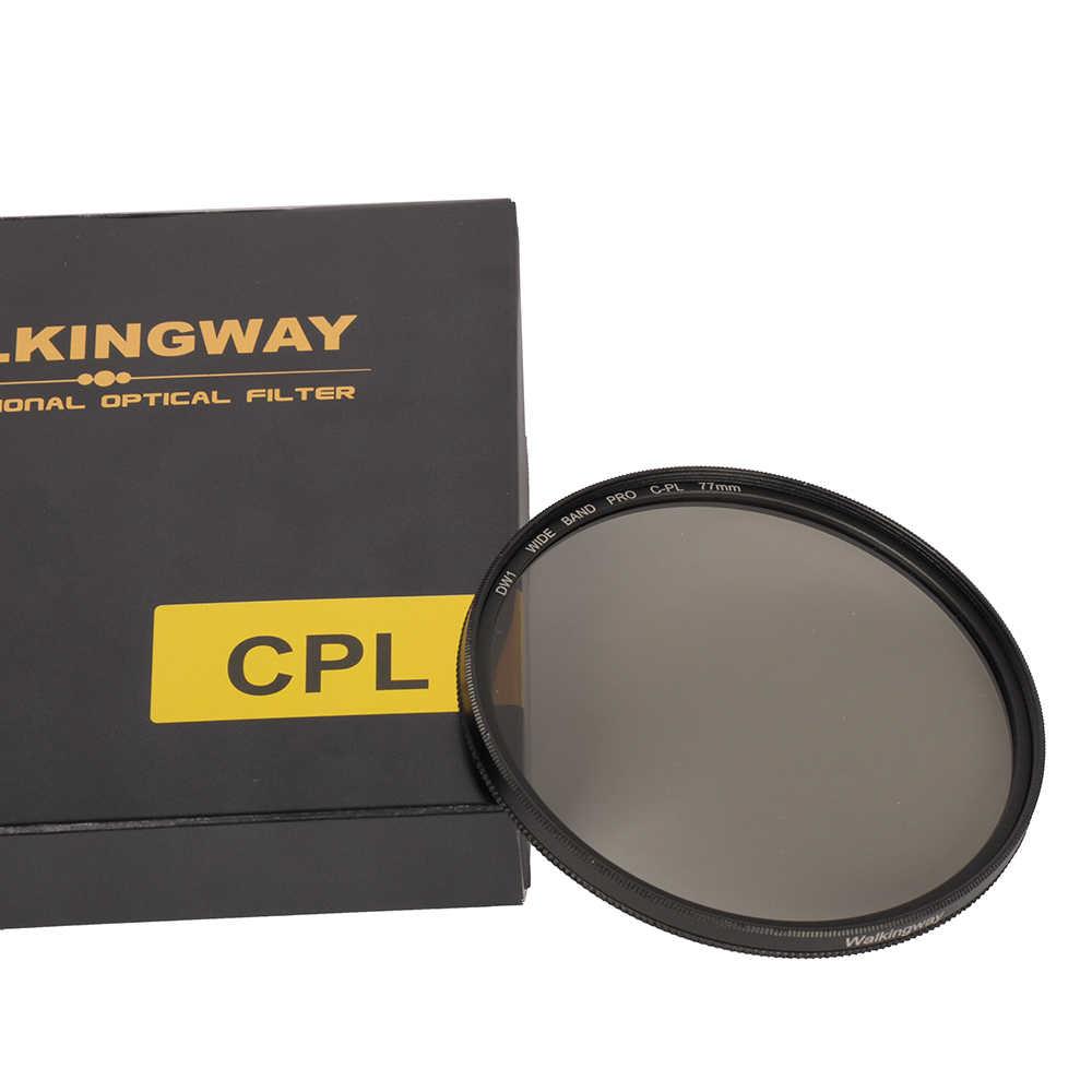 Walkingway filtro de câmera cpl, filtro de polarização circular, CIR-PL filtros para nikon canon dslr lentes de câmera 49/52/55/58/62/67/72/77/82mm