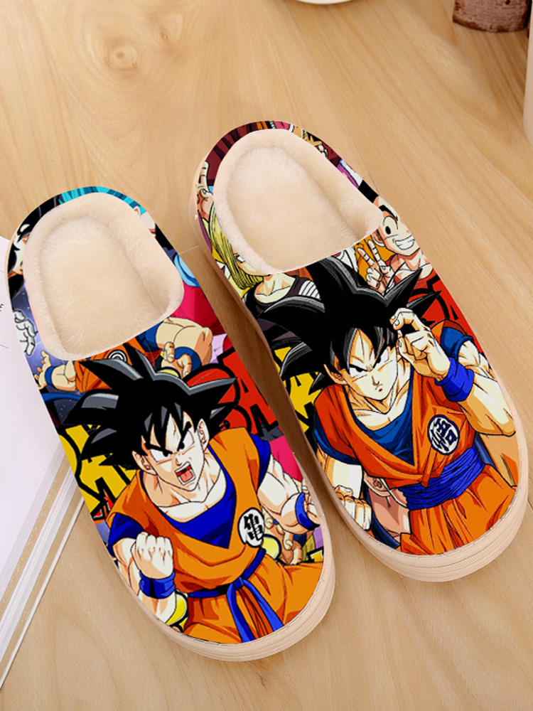 Slippers Naruto Shippuden-House Dragon-Ball-Z Furry Slides Anime Indoor-Fur Super-Japanese