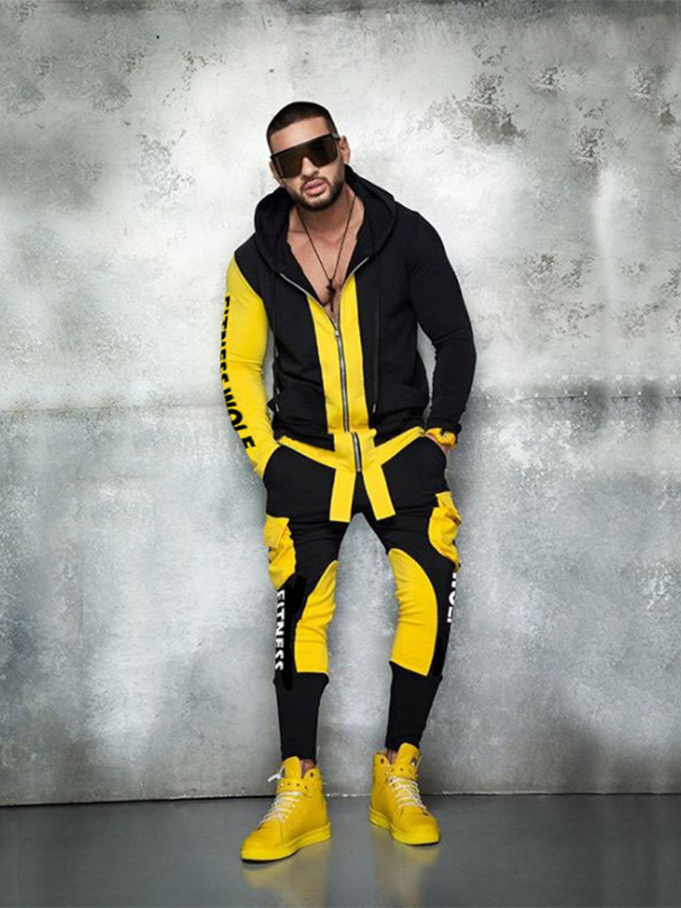 Popular Brand Men Tracksuit Two-piece Outdoor Sport Fitness Hoodies+running Patchwork Small Leg Trousers Personality Suits