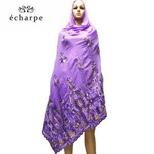 Image 2 - 새로운 아프리카 여성 스카프 이슬람 여성 큰 자수 면화 스카프 wharf 타월과 편안한