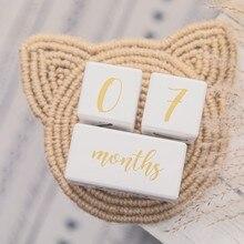 1set bebé tarjetas de hito bloque de madera bebé mes de nacimiento número conmemorativo hito recuerdo recién nacido accesorios de la foto