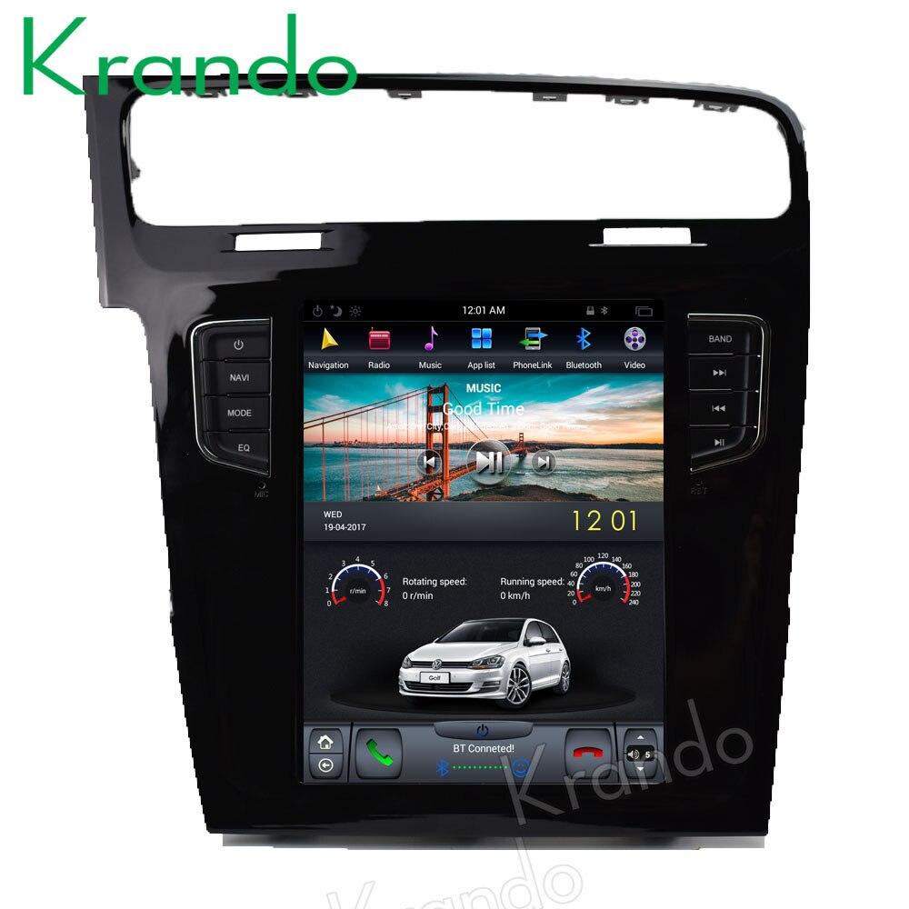 """Krando Android 9,0 4G RAM 10,4 """"Tesla Vertical coche reproductor Multimedia Radio para VW Volkswagen Golf 7 2013-2019 Audio navegación"""