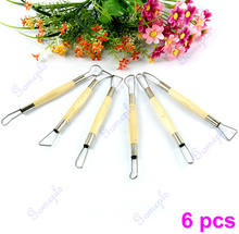 Twin 6pcs 6 inch Ribbon Pottery Clay Sculpture Cutter Carving Tool Craft Set