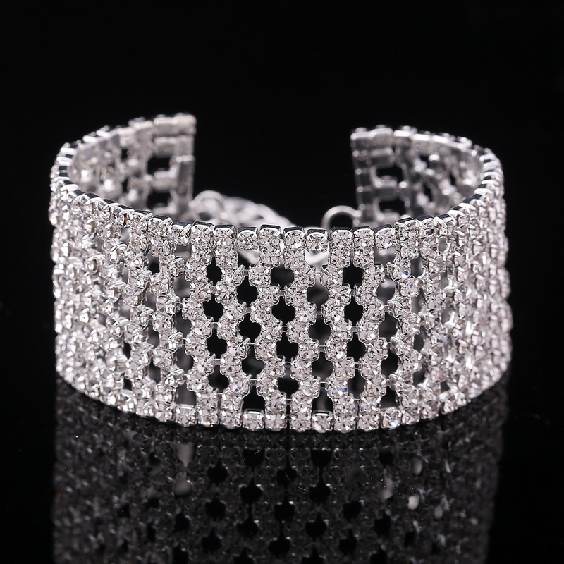 MINHIN Luxury Crystal Bracelets For Women Wide Hollow Silver Wrist Bracelet Bangle Fashion Wedding Jewelry Valentine's Day Gift