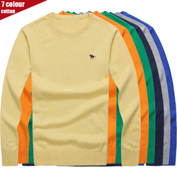 Pull-over masculin brodé 3D avec logo polo 3XL, en coton solide, col rond, tricot masculin, automne