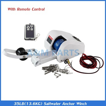 Pontoon Boat 35 Electric Anchor Winch Saltwater With Wireless Remote Control Kit