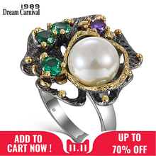 DreamCarnival 1989 New Arrivals Vintage Rings for Women Flower Style with Green Zircon White Pearl Hot Pick Chic Jewelry WA11637(China)