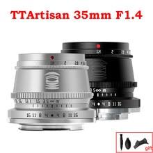 TTArtisan 35mm F1.4 APS-C Caméra de Mise Au Point Manuelle Lentille pour Canon EF-M Monture Sony E Fujifilm X M4/3 Leica L SIGMA Nikon Z XT3 Argent