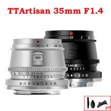 Ttartisan 35mm f1.4 APS-C lente da câmera de foco manual para sony e montagem fujifilm x m4/3 leica l sigma a9 a7iii a6400 X-T4 xt3 prata