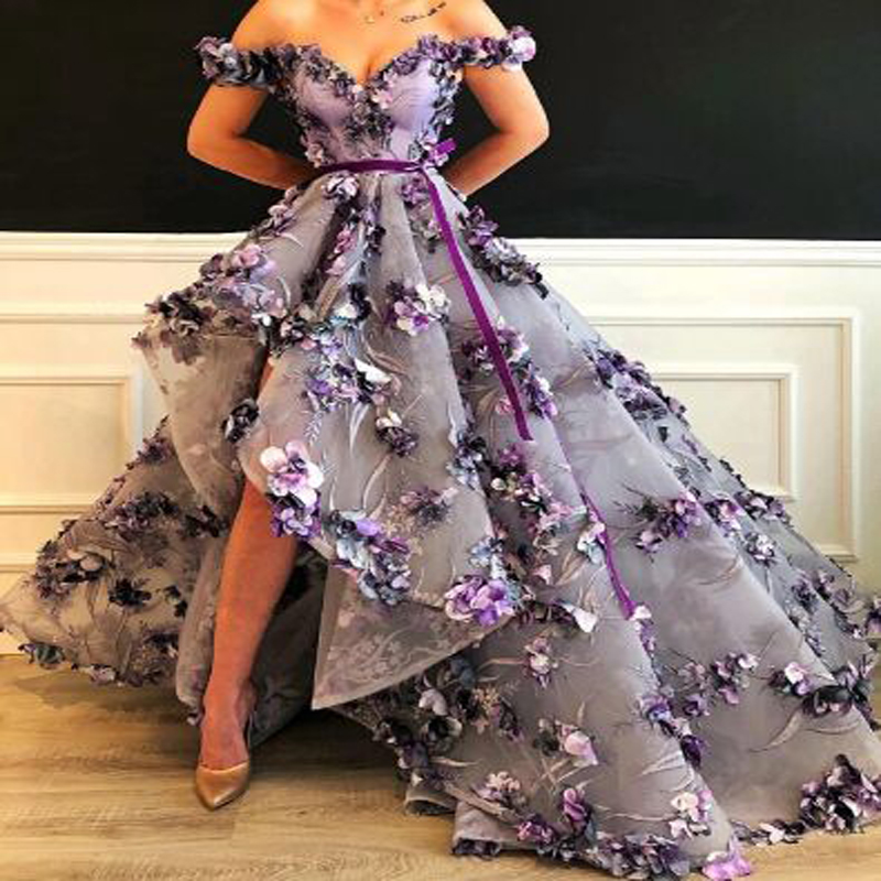 Lace Appliques Pleat Off-shoulder High Low   Prom     Dresses   Simple Sweetheart Neck Short Sleeve Floor Length Evening Gown vestidos