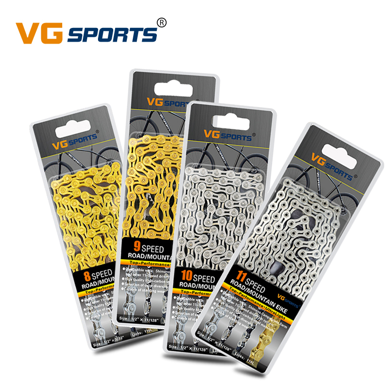 VG Sports Road Mountain Bike Parts Bicycle Chain 8 9 10 11 Speed Velocidade MTB Chains 116L Cycling Half/Full Hollow Gold Silver