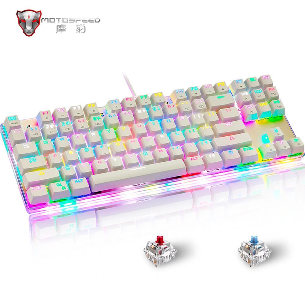 Оригинальная игровая клавиатура Motospeed K87S с RGB-подсветкой, синяя и красная клавиатура с механическим переключателем, 87 клавиш для геймеров, р...