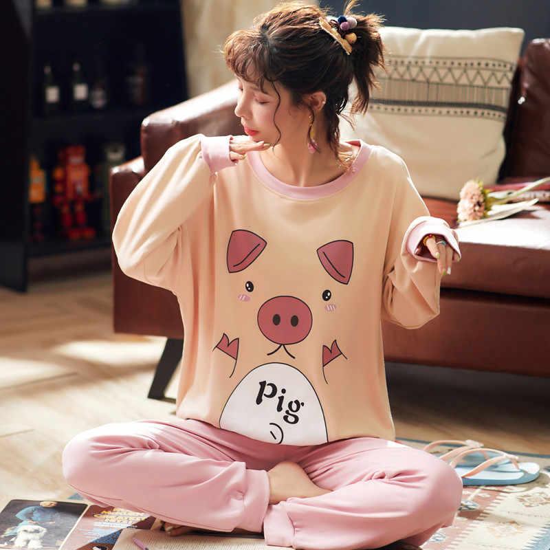 JULY'S LIED Vrouwen Pyjama Set Lente Herfst Nieuwe Dunne Cartoon Gedrukt Lange Mouwen Leuke Nachtkleding Casual Homewear Vrouwelijke Pyjama