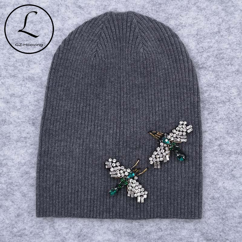 GZHilovingL Women Bug Rhinestones Knitted Beanies Hats Soft Cotton Wool Stretch Ribbed Skullies Hats And Caps For Female Girls