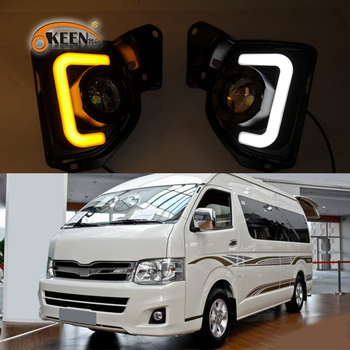 2PCS 12V Car LED DRL For Toyota Hiace 2014 2015 2016 2017 2018 Daytime Running Light fog lamp With Turn Signal style relay newest 12v 6000k led drl daytime running light for mazda3 mazda 3 axela 2014 2015 2016 fog lamp frame fog light car styling