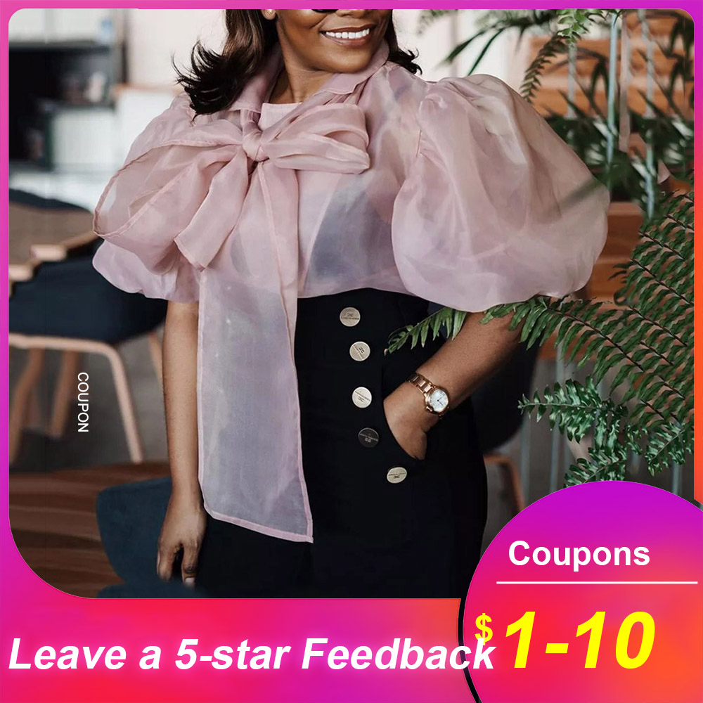 Bow Tie Women Pink Blouse Shirts Plus Size African 2020 Summer Loose Lantern Sleeve Blouse Tops Day Chiffion Female Shirts(China)