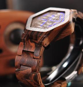 Image 4 - BOBO BIRD Luxury Brand Designe Digital Watch Men Night Vision Bamboo Watch Mini LED Watches Unique Time Display Gifts for Him