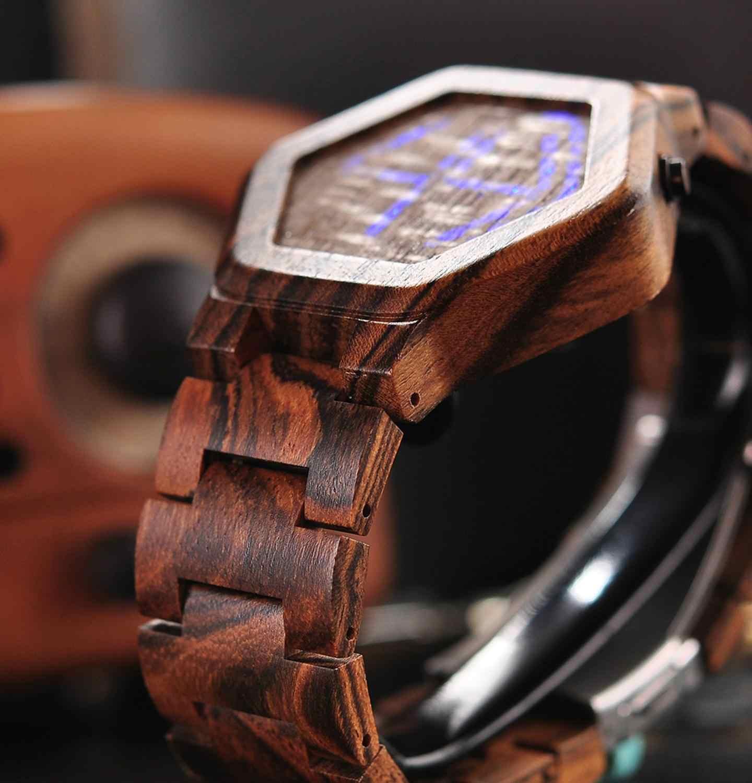 Bobo pássaro marca de luxo designe relógio digital homem visão noturna relógio de bambu mini led relógios única exibição de tempo presentes para ele