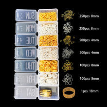 Gold/Silver Mixed Multi-Size Jump Ring Jewelry Findings Clasp DIY Jewelry Findings Beads Kit for Jewelry DIY Making