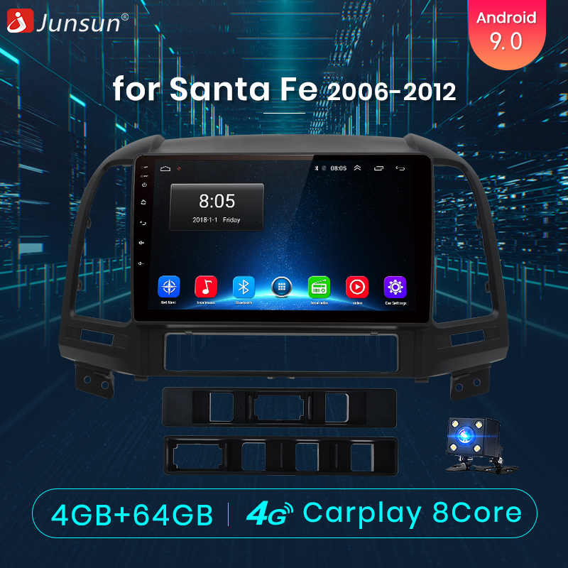 Junsun V1 pro 4G + 64G CarPlay DSP Android 8.1 Auto Radio Multimedia Stereo Audio Player GPS 2 din Voor Hyundai Santa Fe 2 2006-2012