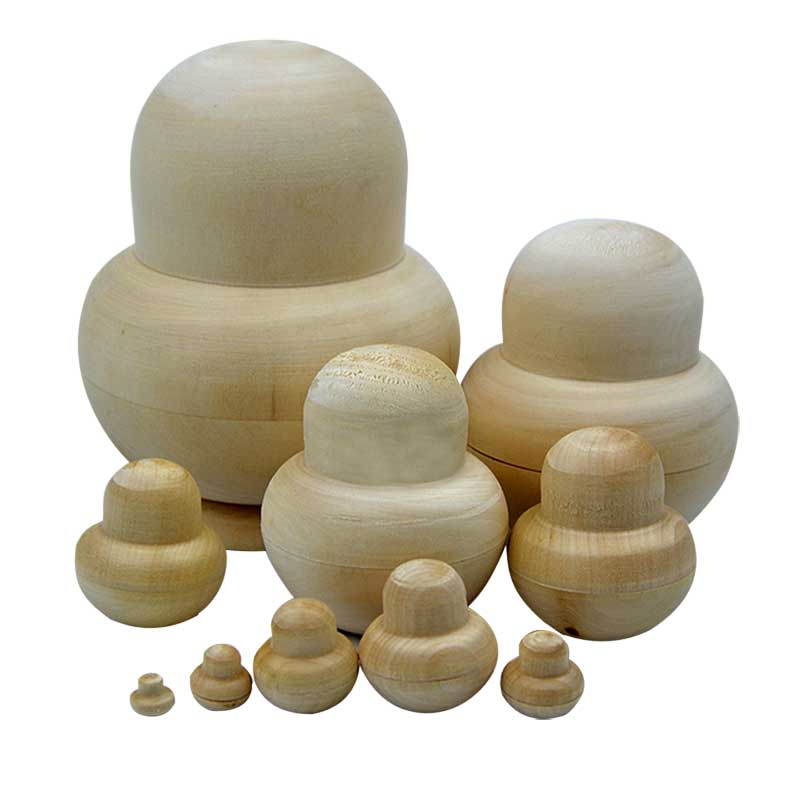 10pcs New Wooden Embryos Russian Nesting Matryoshka Dolls Toys Unpainted DIY Blank For Children Kids Gift AN88