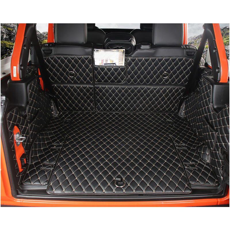Lsrtw2017 Waterproof Wearable Durable Car Trunk Mat For Jeep Wrangler 2018 2019 2020 JL Luggage Boot Rug Carpet Accessories