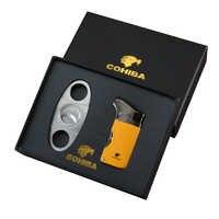 COHIBA Cigar Lighter Cutter Accessories Set Gas Lighters Sharp cigar Cutter Set with Gift Box