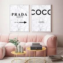 Mármore coco citações arte da parede cartaz moda perfume flor mulher pintura da lona preto branco vogue imagens para sala de estar decoração