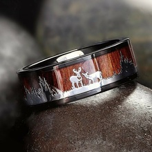 Black Tungsten Hunting Ring Wedding Band Wood Inlay Deer Stag Silhouette Ring Wedding Rings