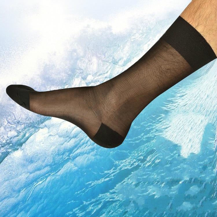 Tube Socks Men's Stocking Business Dress Stockings Sheer Socks Exotic Formal Dress Suit Socks Men Sexy Transparent TNT Socks