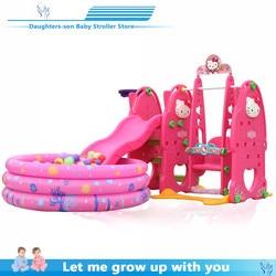 Childrens slide and swing, indoor childrens playground for kindergarten, plastic multi-functional slide for children, eight-in