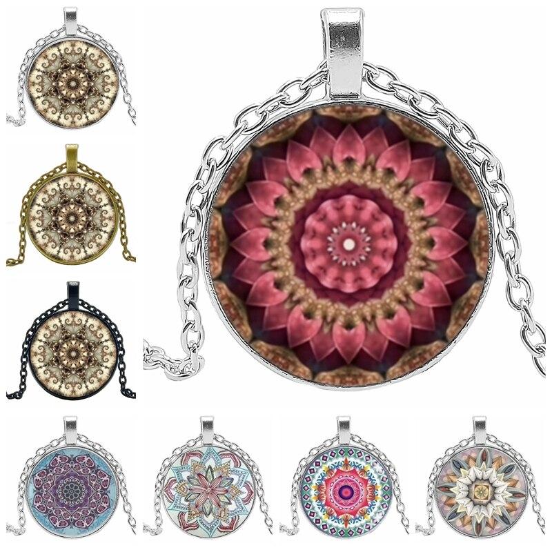 HOT! 2019 Declaração de Moda Colar Sagrado Mandala Padrão Geométrico Vidro Cabochão Pingente Charme Colar de Jóias Menina