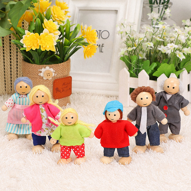 Happy Family Dolls Set Miniature 6 People Wooden Jointed Dolls Muppet Kids Pretend Play Play House Toys Dressed Characters Gifts 1
