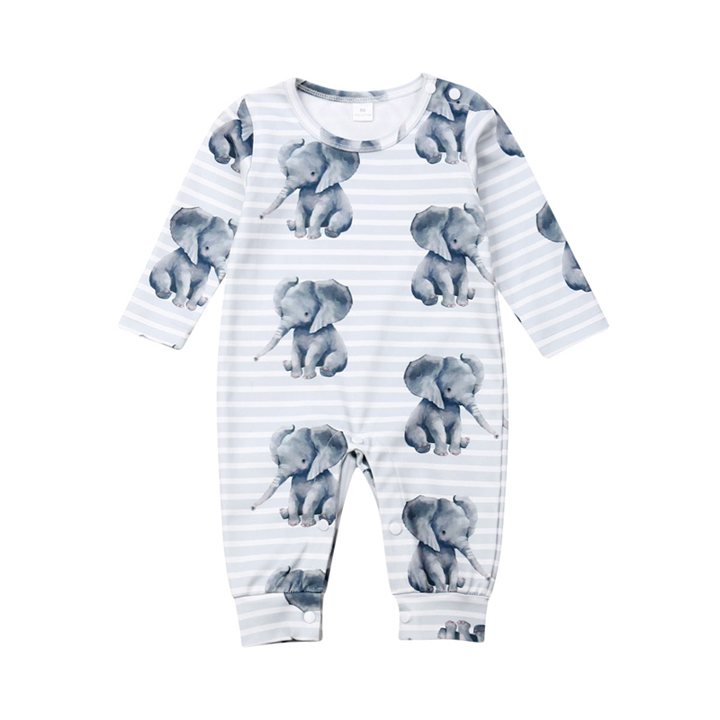 0-24M Newborn Infant Baby Boy Girl Clothes Cute Elephant Print Cotton   Romper   Jumpsuit Playsuit Autumn Clothing