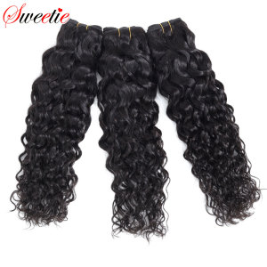 Sweetie Hair Peruvian Hair Water Wave Bundles Natural Black 100% Human Hair Extensions 3 or 4 Bundles Deals Non Remy Hair Weave