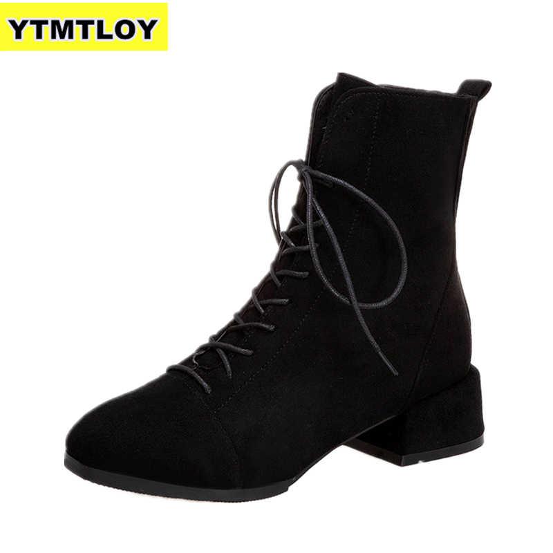 SıCAK Kadın Botları Akın Sivri Burun Kış Bayanlar Kalın Topuk Batı Streç Kumaş Ayakkabı Zapatos De Mujer yarım çizmeler