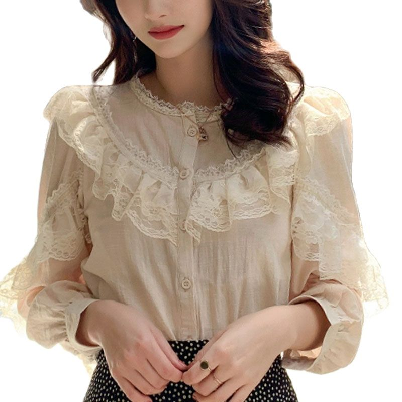 Blouses Shirt Womens Tops and Blouses 2021 Cotton Linen Blouse Button Solid Stand Collar Ladies Lace Tops Shirts Blusas Feminine